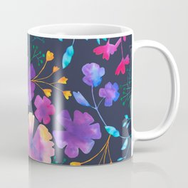 Fluro Floral Watercolour Flower Pattern Coffee Mug