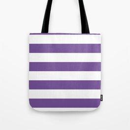 Horizontal Stripes - White and Dark Lavender Violet Tote Bag