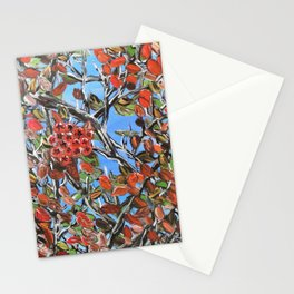 HAWTHORN BERRIES - Original abstract painting by HSIN LIN / HSIN LIN ART Stationery Cards