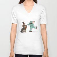 lincoln V-neck T-shirts featuring Lincoln by The Drawbridge