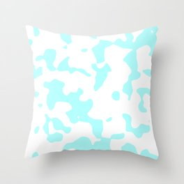 Large Spots - White and Celeste Cyan Throw Pillow