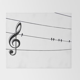 Natures Choir Birds on Wire Music Note A611W Throw Blanket