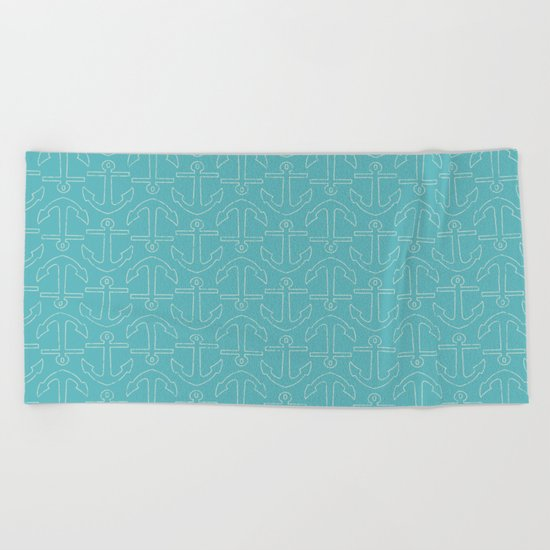 Beach Series Aqua - White Anchors on turquoise background on #Society6 Beach Towel