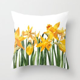 watercolor yellow narcissus Throw Pillow