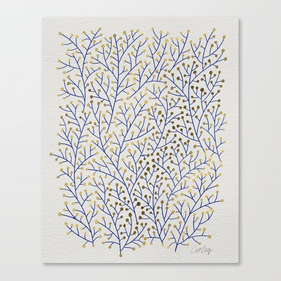 Berry Branches - Navy & Gold Canvas Print