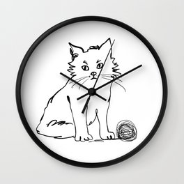Katzen 012 / Cute Kitten Minimal Line Drawing Wall Clock