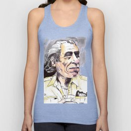 Charles Bukowski portrait in watercolor and ballpoint by McHank Unisex Tank Top