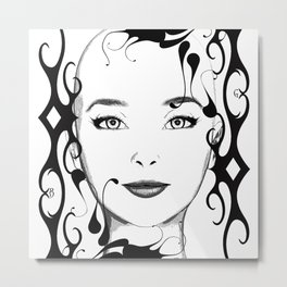 Black and white face ornament Metal Print