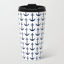 Preppy Anchor Pattern - White and Navy Blue Nautical Travel Mug