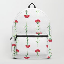 Carnations flowers watercolor art Backpack