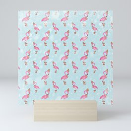 From Flamingo Birds And Christmas-Cute teal XMas Pattern Mini Art Print