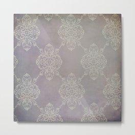 Vintage Damask - Violet Metal Print