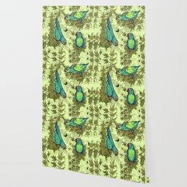Parrots & Weeds Wallpaper