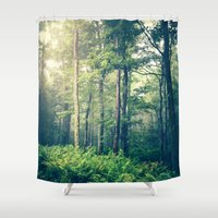 forest Shower Curtains featuring Inner Peace by Olivia Joy StClaire