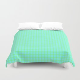 Green On Blue Plaid Duvet Cover