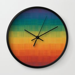 Colorful Grunge Texture Pattern Seamless Abstract Rainbow Multi Colored Illustration Wall Clock