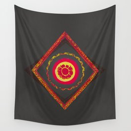 Pata Patterns in Red & Yellow on Black Wall Tapestry