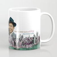 frank sinatra Mugs featuring Frank Sinatra - New York by Dots Studio