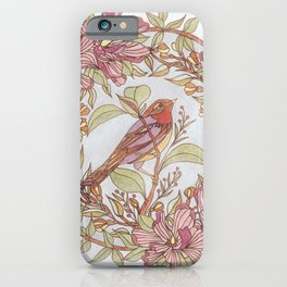 Magnolia And Marigold Wreath With Songbird iPhone Case