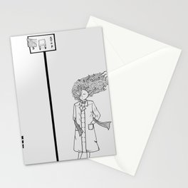 The girl in the windy city Stationery Cards