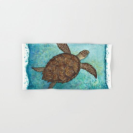 Hawksbill Sea Turtle ~ Watercolor Hand & Bath Towel