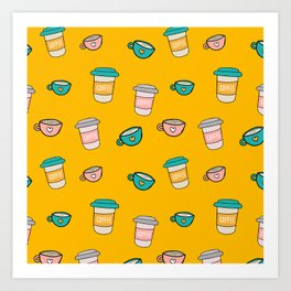 Happy coffee cups and mugs in yellow background Art Print