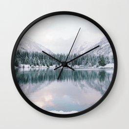 Glassy Mountain Lake Wall Clock