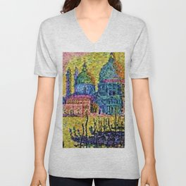 Classical Masterpiece 'The Grand Canal, Venice, Italy' by Paul Signac Unisex V-Neck