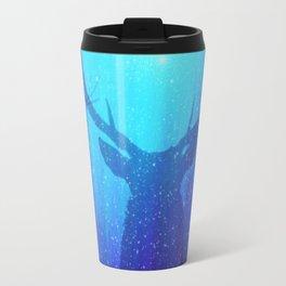 Blue Purple Space Deer Travel Mug