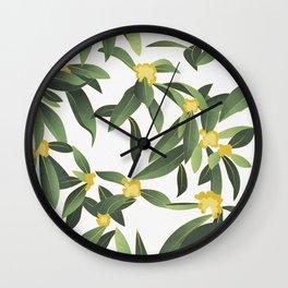 Loquat medlar tree in Autumn II Wall Clock