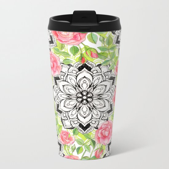 Peach Pink Roses and Mandalas on Lime Green and White Metal Travel Mug