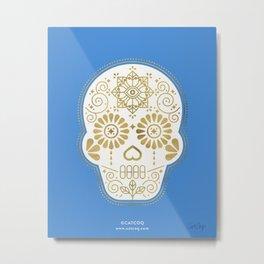 Día de Muertos • Mexican Sugar Skull – Blue & Gold Palette Metal Print
