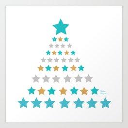 Lights christmas tree cyan Art Print