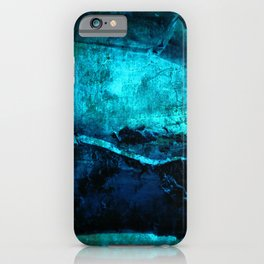 Beneath - Abstract in navy blue and turquoise iPhone Case