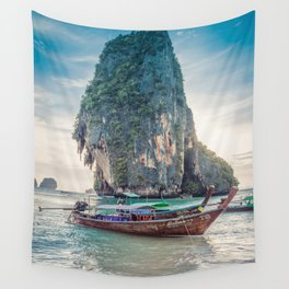 Boat in the sea Wall Tapestry