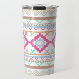 Pink teal Aztec Tribal Diamond geometric Pattern Travel Mug