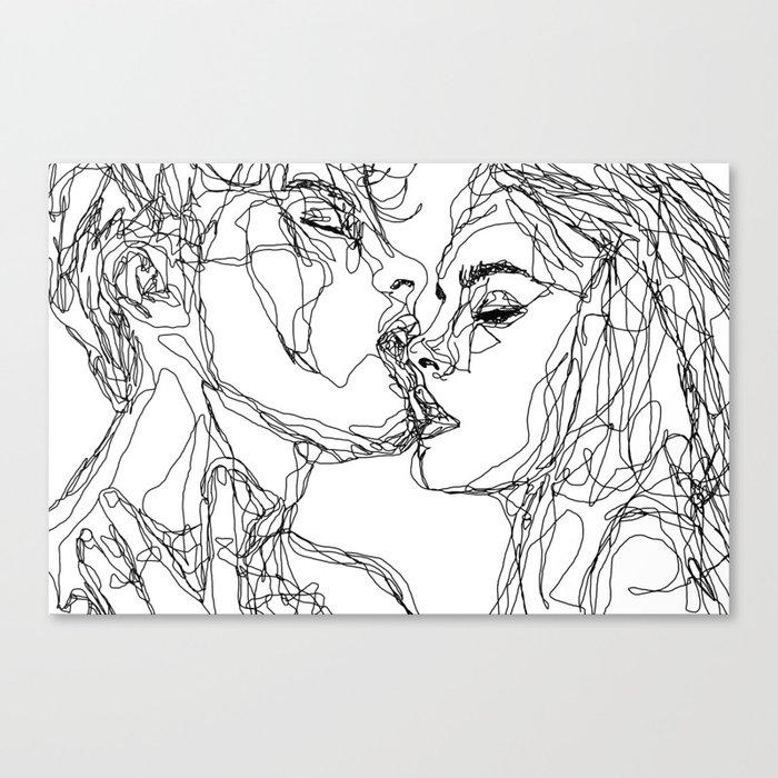kiss more often (B & W) Canvas Print