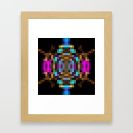 geometric square pixel abstract in blue orange pink with black background Framed Art Print