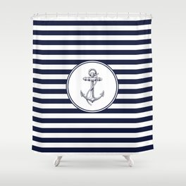 Anchor and Navy Blue Stripes Shower Curtain