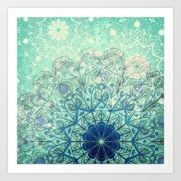 Mandala in Sea Green and Blue Art Print