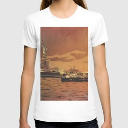 Statue of Liberty on Liberty Island at sunset- New York City, New York.  Watercolor painting T-shirt