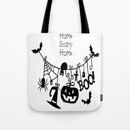 Home Scary Home Bats Pumpkin, Black Cat, Voodoo Doll, Ghost, Spider Tote Bag