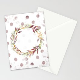 Watercolour spot wreath Stationery Cards