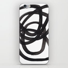 Black And White Minimalist Mid Century Abstract Ink Art Circle Swirls Black Circles Minimal iPhone Skin