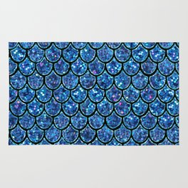 Sparkly Turquoise & Blue & Glitter Mermaid Scales Rug