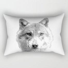 Black and White Wolf Rectangular Pillow