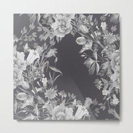 Stardust Perle Noir Floral Motif Metal Print