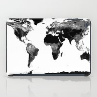 map of the world iPad Cases featuring World Map  Black & White by WhimsyRomance&Fun
