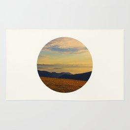 Mid Century Modern Round Circle Photo Graphic Design Beautiful Sunset Over A Field Mountain Range Rug
