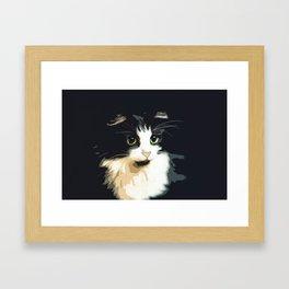 Cute Black and White Tuxedo Cat Framed Art Print